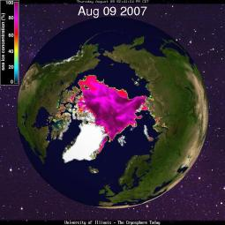 Arctic sea ice - Aug 9, 2007